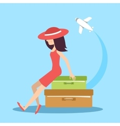 The woman with suitcases vector image