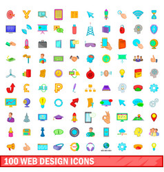 100 web design icons set cartoon style vector
