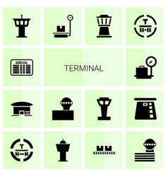 14 terminal icons vector image