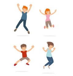 a group of young teenage and kid happy and jump vector image
