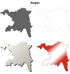 Aargau blank detailed outline map set vector image