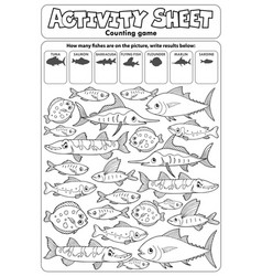 Activity sheet counting game topic 3 vector