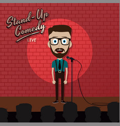 Adult male stand up comedian cartoon character on vector