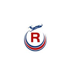 Airplane logo initial r vector