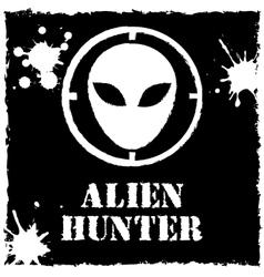 alien hunter logo on black background vector image