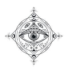 All seeing eye black illuminati symbol vector