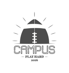 American football campus logotype emblem label vector image