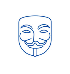 anonymousmask carnivalhacker line icon concept vector image