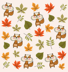 autumn seamless pattern with leaves and squirrels vector image
