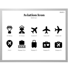 aviation icons solid pack vector image