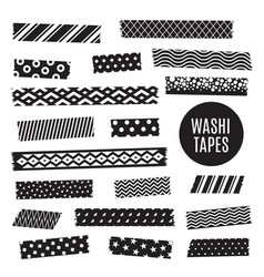 black and white washi tape strips vector image