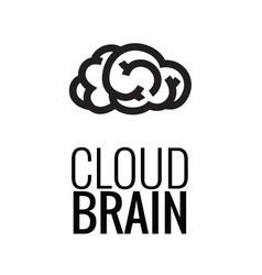 Brain cloud logo template vector