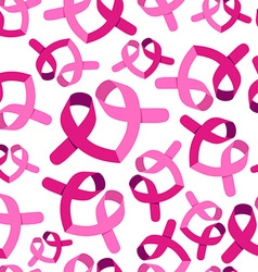 Breast cancer awareness pink ribbon pattern vector image