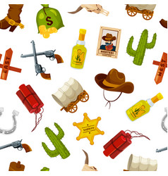 cartoon wild west elements pattern or vector image