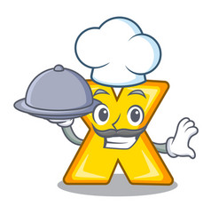 Chef with food cartoon multiply sign for calculate vector