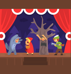 Children theatre performance kids actors vector