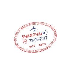 china municipality visa stamp shanghai immigration vector image