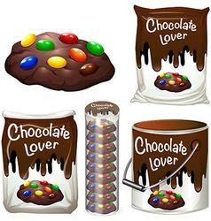 Chocolate cookies in many packaging vector