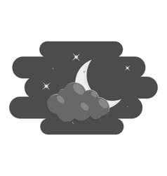 Clouds and moon icon black monochrome style vector image