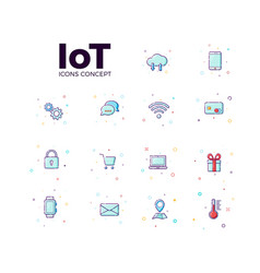 Concept internet things icons icons iot in vector