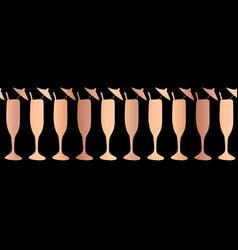 copper foil champagne flute seamless border vector image