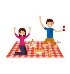 couple in picnic day scene vector image