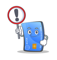 Credit card character cartoon with sign vector