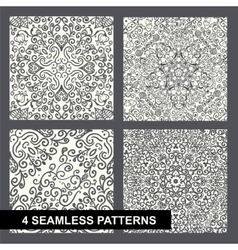 decorative floral seamless pattern set on white vector image