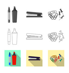 design of office and supply icon set of vector image