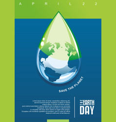 earth day clear water conceptual poster vector image