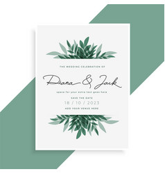 Elegant leaves wedding invitation card design vector