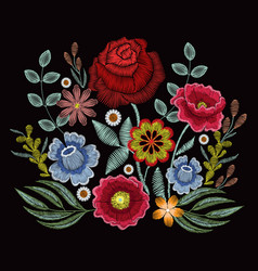 Embroidery spring wild flowers for fashion clothes vector