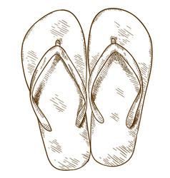 Engraving flip-flops vector