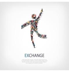 exchange people sign 3d vector image