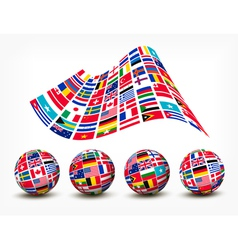 Flags of the world countries Four globes vector