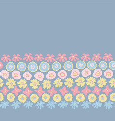 floral seamless repeat border hand drawn vector image
