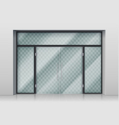 Glass entrance door shopping center mall entrance vector