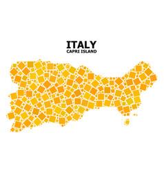 Gold rotated square mosaic map capri island vector