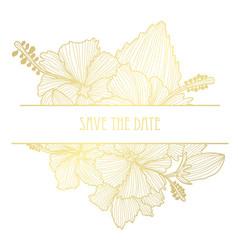 Golden floral card vector