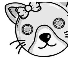Grayscale cute cat female head with hearts eyes vector
