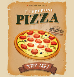 Grunge and vintage pepperoni pizza poster vector