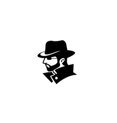 hacker human head face beard detective logo vector image