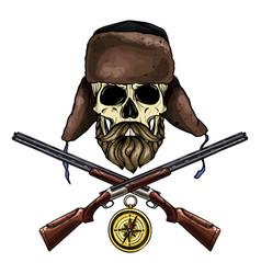 hand drawn hunter skull vector image