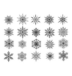 hand drawn snowflake vector image