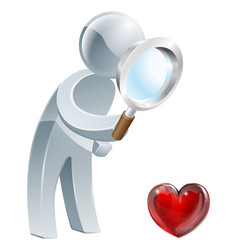 heart magnifying glass man vector image