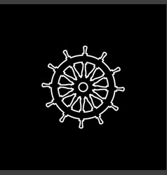 helm line icon on black background black flat vector image