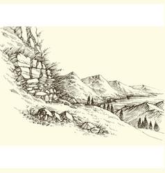high mountains river landscape surrounding hills vector image