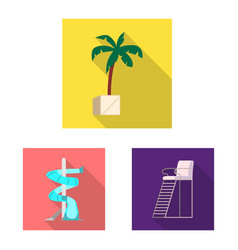 Isolated object of pool and swimming symbol vector