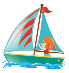 Little girl sailing on the sea vector