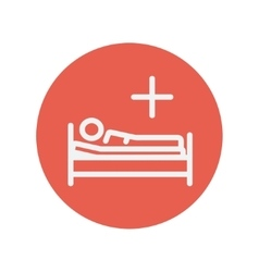 Medical bed with patient thin line icon vector image